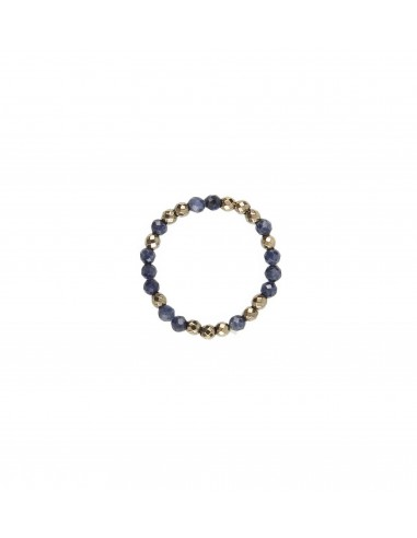 Sapphire ring with golden haematite