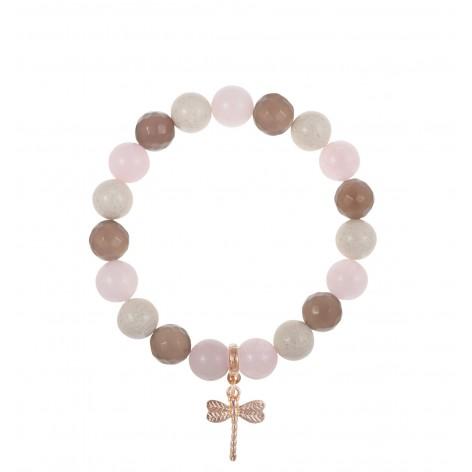 Kremowa elegancja – bransoletka z kamieni naturalnych