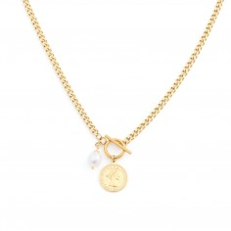 Pancerka z perłą i monetą