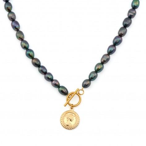 Naszyjnik z czarnych pereł z monetą