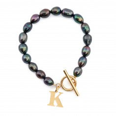 Black pearl bracelet with a...