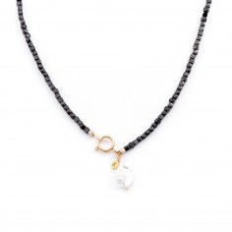 Naszyjnik z czarnych Turmalinów z surową Perłą