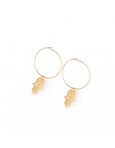 Fatima's hand - thin circle earrings...