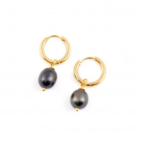 Hoop earrings with black...