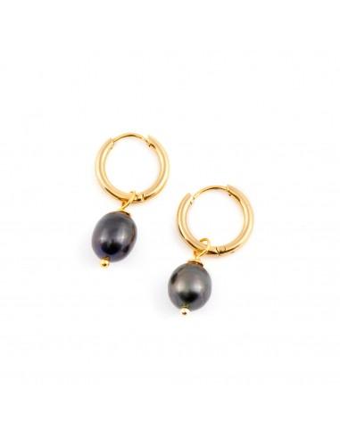 Kolczyki koła z czarnymi perłami