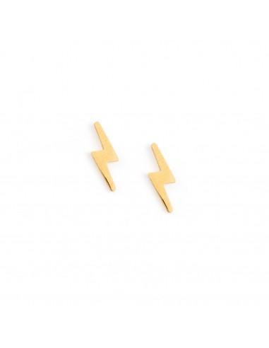 Błyskawice - kolczyki sztyfty ze stali szlachetnej pozłacanej