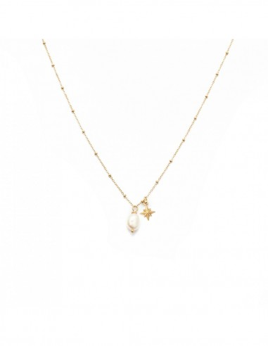 Gold-plated necklace with a pearl and...