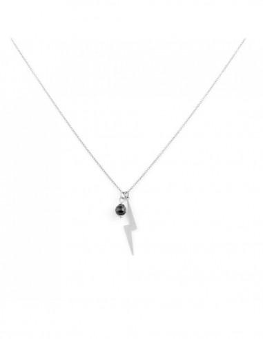 Naszyjnik z błyskawicą - wybierz swój kolor kamienia (wersja srebrna)