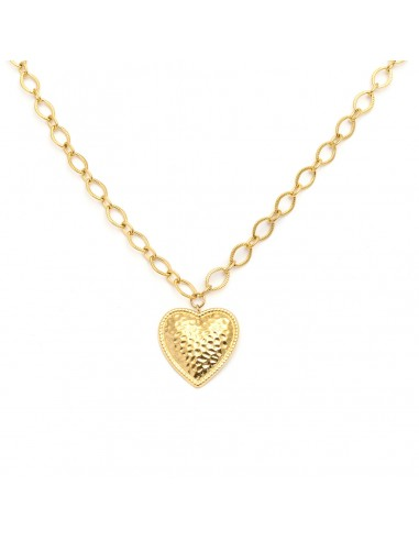 Gold-plated chain with an embossed heart