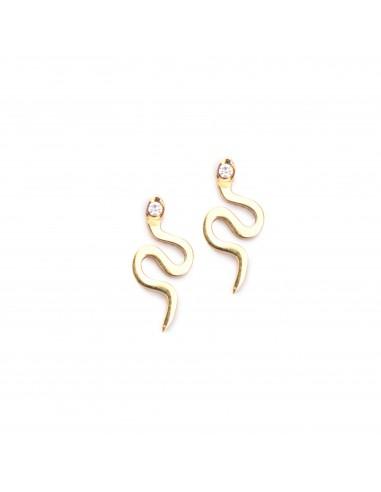 Małe węże - kolczyki sztyfty z pozłacanej stali szlachetnej