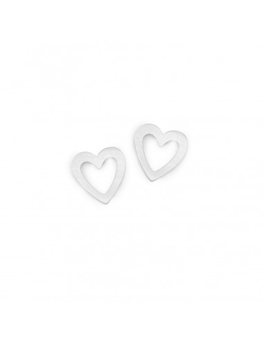 Silver small openwork hearts - stud earrings made of stainless steel