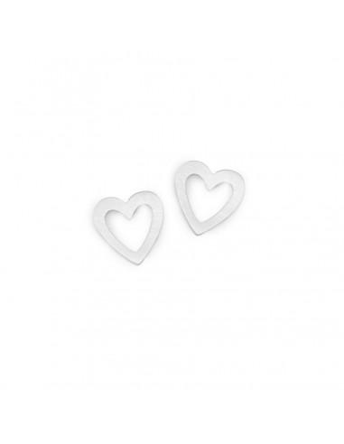 Srebrne małe serca ażurowe - kolczyki sztyfty ze stali szlachetnej