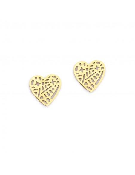 Ażurowe serca z gwiazdkami - kolczyki sztyfty z pozłacanej stali szlachetnej