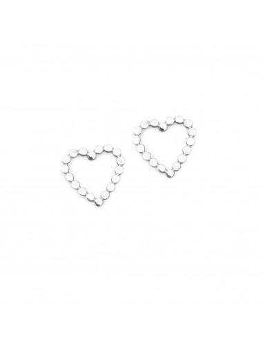 Srebrne serca z kuleczek- kolczyki sztyfty ze stali szlachetnej
