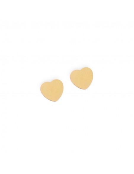 Pełne serca - kolczyki sztyfty z pozłacanej stali szlachetnej