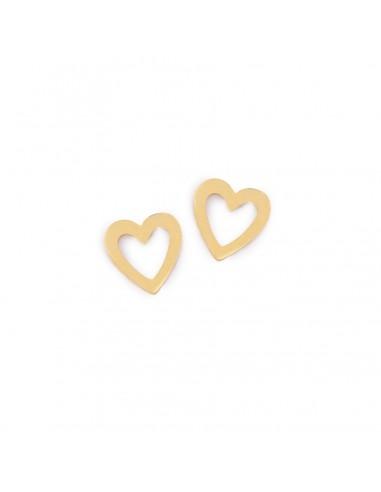 Małe serca ażurowe - kolczyki z pozłacanej stali szlachetnej