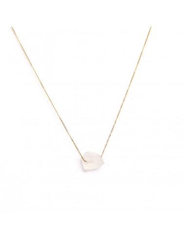 A gold-plated necklace with a raw...