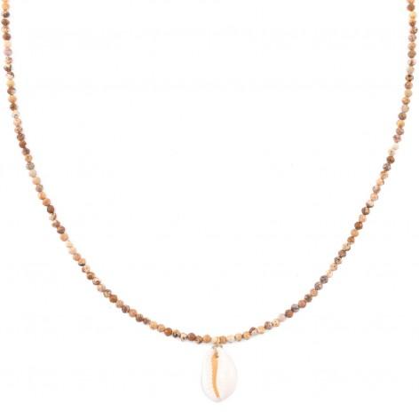 Piaskowy Jaspis z muszelką Kauri - naszyjnik z kamieni naturalnych