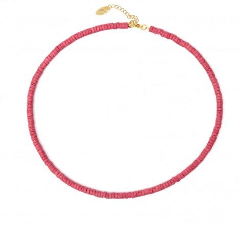 Ceglasta czerwień - naszyjnik barwiona Lawa wulkanicznej