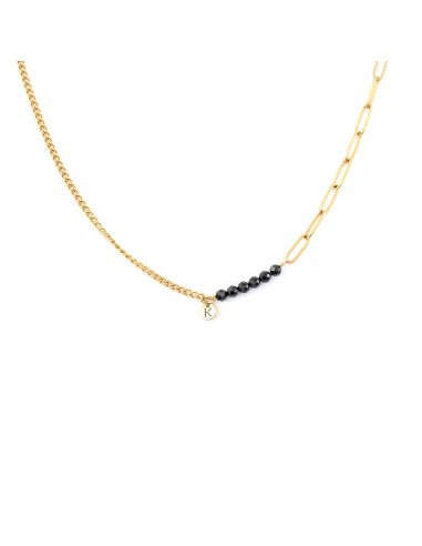 Gold-plated chain necklace with black...