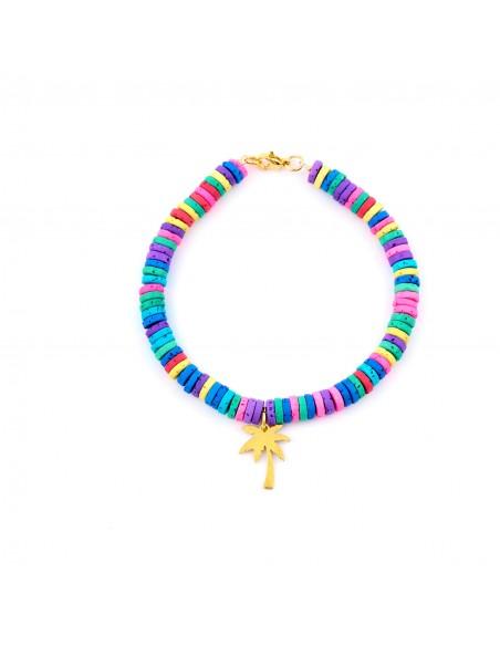 Kolorowa plaża (wybierz swoją zawieszkę) - bransoletka na rękę barwiona Lawa wulkaniczna