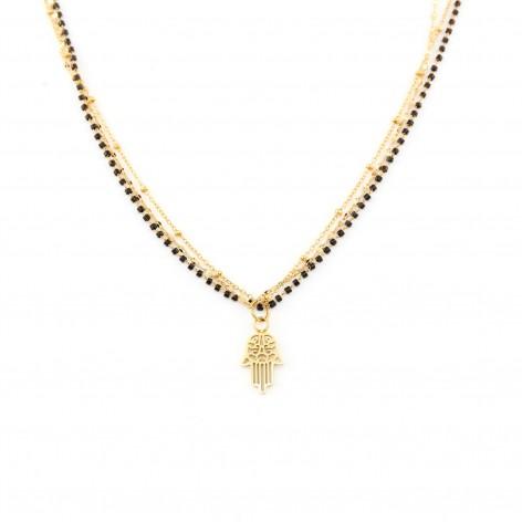 Naszyjnik z trzech łańcuszków z Dłonią Fatimy