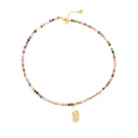 Kolorowy płaski Turmalin - naszyjnik z kamieni naturalnych