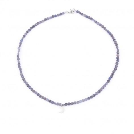 Szafir - naszyjnik z kamieni naturalnych (wersja srebrna)