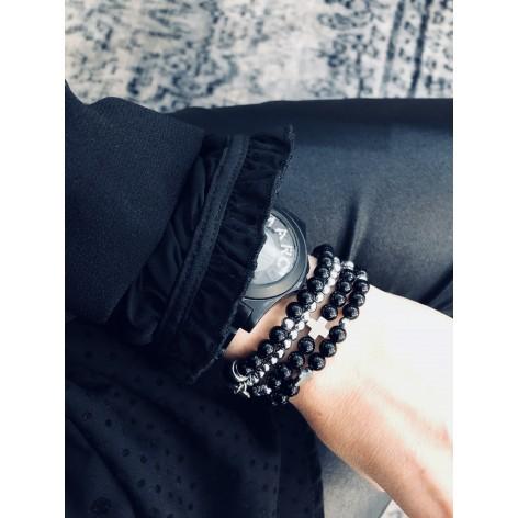 Czarne mini Kulki - komplet 4 bransoletek z kamieni naturalnych